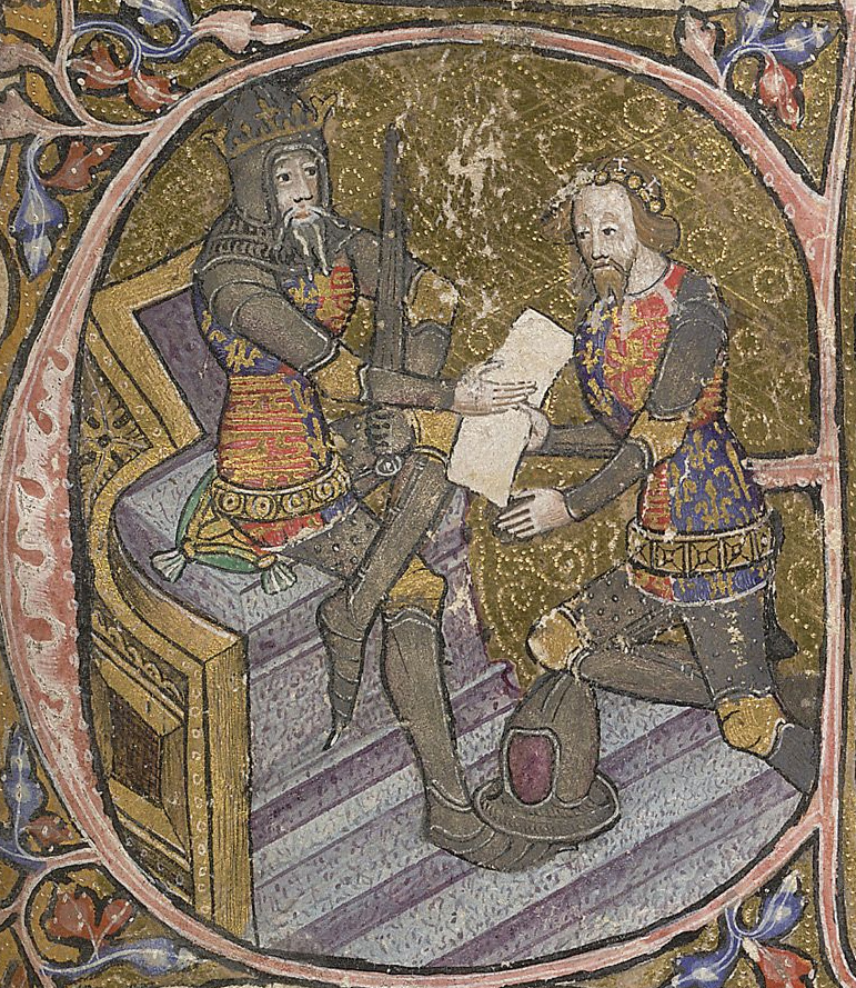 Edward, the Black Prince is granted Aquitaine by his father King Edward III. Initial letter E of miniature, 1390, f.31.jpg