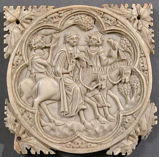 Ivory Mirror Case with a Falconing Party, Ivory, France, circa 1330-1360..jpg
