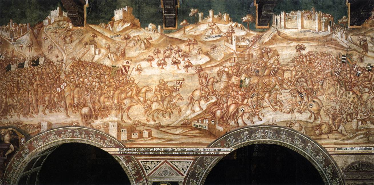 Victory of the Sienese Troops at Val di Chiana, author Lippo Vanni, Palazzo Publico, Siena, 1364.jpg